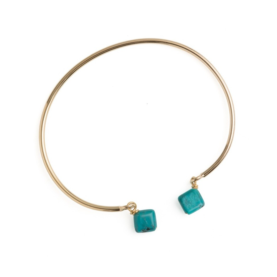 Jonc ouvert Turquoise, plaqué or