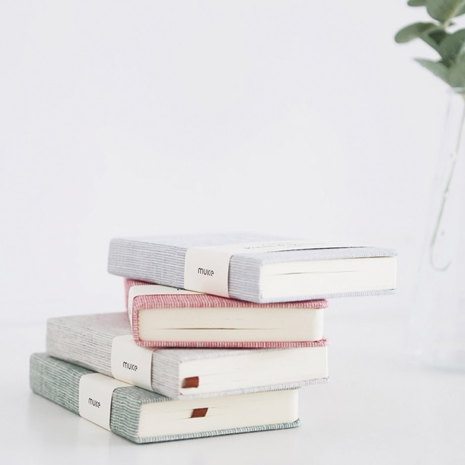 Carnet / Notebook en tissu, Trait blanc