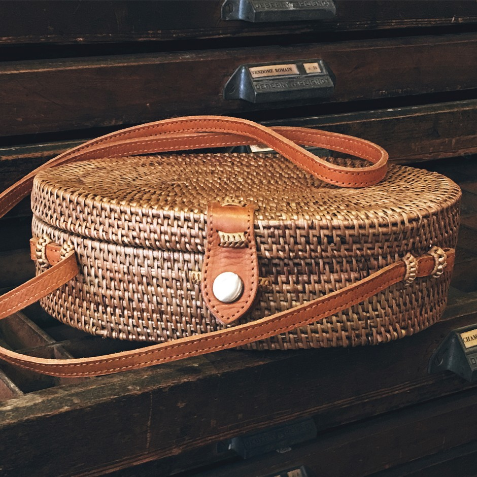 Sac en rotin naturel ovale